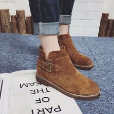 Suede Cowhide Leather Shoes Women's Boots Genuine Leather Buckle Ankle Boots