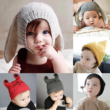 Baby Kids Toddler Girls Boys Crochet Earflap Beanie Hat Newborn Warm Soft Cap
