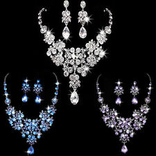 Wedding Prom Crystal Rhinestone Bridal Pendant Necklace & Earrings Jewelry Sets