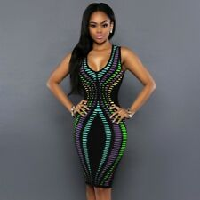 Women Summer Bodycon Party Plus Size Sleeveless Pencil Casual Polka Dot Dress