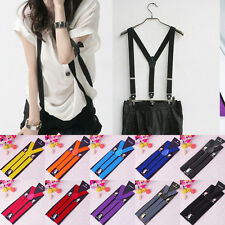 Fashion Women's Unisex Mens Adjustable Elastic Y-Shape Braces Clip-on Suspenders