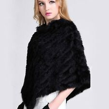Fashion Rabbit Fur Cape Shawl Genuine Rabbit Fur Women Outwear