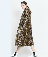 New Sexy Womens Leopard Faux Fur Long Coat Jacket Trench Outwear Overcoat Parkas