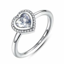 Heart Rings Women 925 Sterling Silver CZ Fashion Leisure Home Office Jewelry
