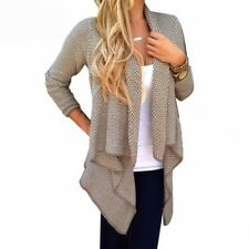 Women Ladies Fashion Long Sleeve Open Neck Irregular Knit Cardigan Sweater