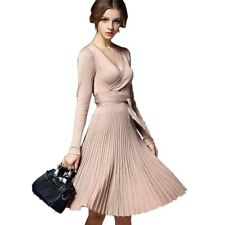 Women Casual Long Sleeve V Neck Knee Length Solid Brief Winter Dress