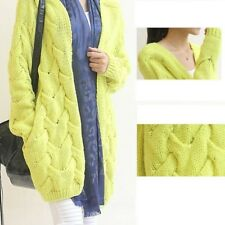 Women Autumn Winter Knitted Cardigan Casual Long Sweater 4 Candy Colors