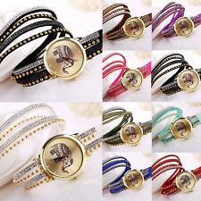 Fashion Womens Bracelet Elephant Rivet Braided Winding Wrap Quartz Wrist Watches