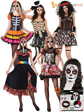 Ladies Day Of The Dead Costume + Make Up Adult Skeleton Fancy Dress Womens Skull
