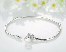 Silver Plated Love Snake Chain Bracelet Bangles Fit 925 Sterling Bead Charm Gift