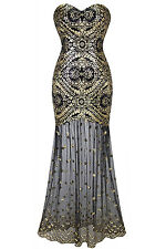 1920s Gatsby Vintage Sequin Deco Strapless Flapper Dress Cocktail Party Gown