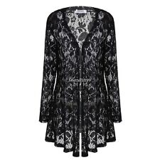 eaneor Women Casual Lace Crochet Long Sleeves Open Front Long Cardigan Tops BF9