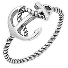 Anchor Rope Nautical Navy Sterling Silver 925 Bohemian Style Ring Size 4 to 10