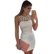 Women Cute White Lace Hollow Out Sleeveless Sheath Bodycon Party Dress .