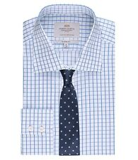 Hawes & Curtis Mens Long Sleeve Grid Check Classic Fit Shirt Single Cuff