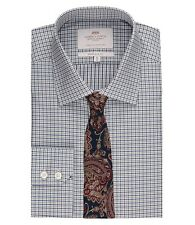 Hawes & Curtis Mens Long Sleeve Check Extra Slim Fit Shirt Single Cuff