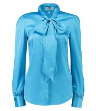 Hawes & Curtis Womens Ladies Long Sleeve Semi Fitted Shirt With Neck Tie