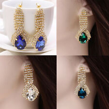 1 Pair Dangle Earrings Gold Plated Crystal Rhinestone Teardrop Women Ear Studs
