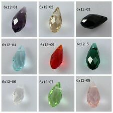 New 20PCS 12x6mm Teardrop Shape Tear Drop Glass Faceted Loose Crystal Beads