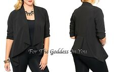 J40 BLACK OPEN DRAPE FRONT ASYMMETRICAL BLAZER JACKET WOMENS PLUS SIZE 1X 2X