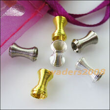 30 New Gold Dull Silver Plated Connectors Double-Speaker Tube Bead Caps 6x11mm