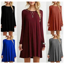 New 2016 Women's Casual Plain Long Sleeve Round Neck Tunic T-Shirt Loose Dress