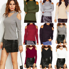Womens Casual Blouse Off The Shoulder T-Shirt Long Sleeve Ladies Slim Top Jumper