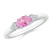 Natural Oval Pink Sapphire Solitaire Ring with Diamond Accents 14k White Gold
