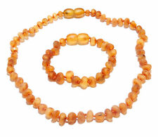 Genuine Raw Baltic Amber Beads Baby Necklace and Bracelet Anklet Set