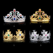 Costume Hat Royal Crown King Queen Gold Sliver Jewels Adult Halloween Medieval