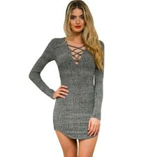 Women Lace Up Front Plunge Neckline Bodycon Stretchy Mini Dress Knit Top