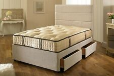 SMALL SINGLE, SINGLE 2000 POCKET HAND TUFTED DIVAN BED WITH MATTRESS + STORAGE