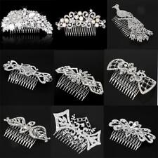 Wedding Bridal Jewelry Vintage Rhinestone Crystal Flower Silver Hair Comb Clip