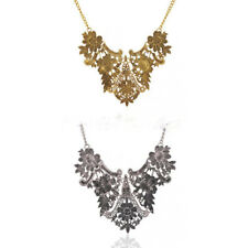 Fashion Women Vintage Flower Leaves Statement Bib Pendant Choker Necklace Collar