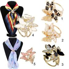 Women Vintage Gold Plated Rhinestone Butterfly Silk Scarf Holder Scarf Clip Pin