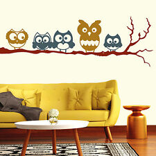 "Wall tattoo ""Five cute owls on a single branch"" Tri-coloured Little owls Owl Owl"