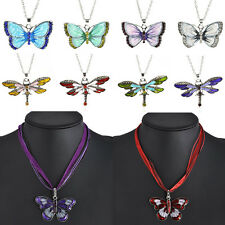Chic Enamel Pendant Necklace  Chain Women Crystal Rhinestone Dragonfly Butterfly
