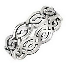 Celtic Wicca Weave Knot Spinner Ring Irish Band Sterling Silver 925 Size 4 to 14