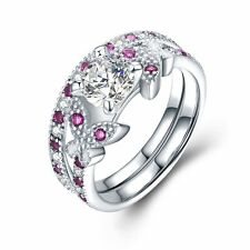 Gemstone Rings Sets for Women 925 Sterling Silver CZ Bling Wedding Couple Gift