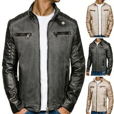 BOLF Men's Faux leather jacket Sweater Transition Quilted Kunst 4D4 Biker