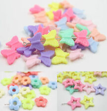 50PCS Candy Color Mixed Acrylic Plastic Spacer Beads Kids Crafts Finding