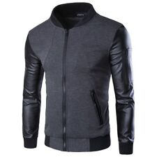 Men Hoodies Patchwork Leather Sleeve Jacket Coat Casual Suit Pullover Sweatshirt