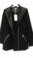 GORGEOUS NEW ZARA BLACK ZIPPED JACKET WITH FAUX LEATHER DETAIL SIZE M