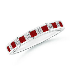 Princess Cut Diamond Ruby Half Eternity Wedding Band Ring 14k Gold / Platinum