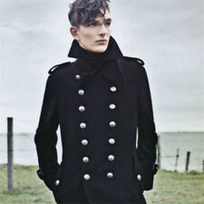 Mens Military Wool Outerwear Double Breasted Trench Long Coat Overcoat Jackets