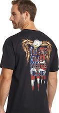 Cowboy Up Mens Black Cotton S/S T-Shirt Bleed With Eagle Flag