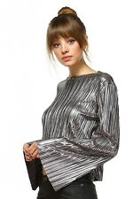 Silver Metallic Top Shirt Sequin Bell Sleeves NWT Silver Party Top Womens