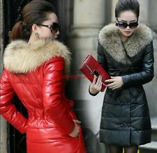Winter Womens Warm Faux leather Thicken Parka Faux fur lined Hooded Long Jacket