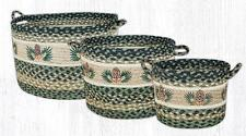 """BRAIDED JUTE UTILITY/STORAGE BASKETS """"PINECONE"""" 3 SIZES/SET.By EARTH RUGS"""