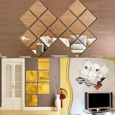 6pcs Square Modern Mirror Self Adhesive DIY Wall Home Stickers Decal Decoration